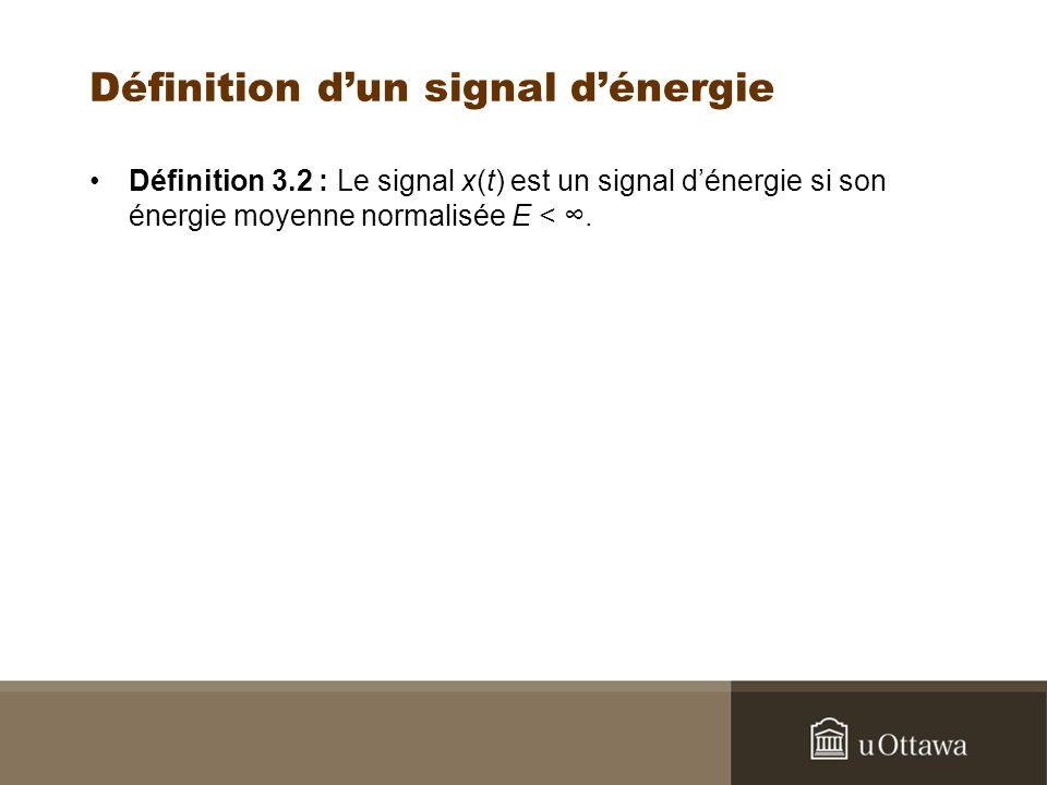 Définition dun signal dénergie Définition 3.2 : Le signal x(t) est un signal dénergie si son énergie moyenne normalisée E <.