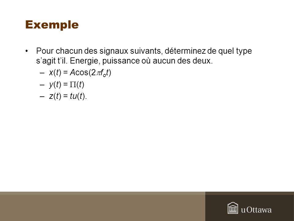 Exemple Pour chacun des signaux suivants, déterminez de quel type sagit til. Energie, puissance où aucun des deux. –x(t) = Acos(2 f o t) –y(t) = (t) –