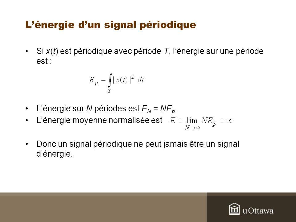 Lénergie dun signal périodique Si x(t) est périodique avec période T, lénergie sur une période est : Lénergie sur N périodes est E N = NE p. Lénergie
