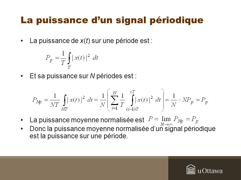 La puissance dun signal périodique La puissance de x(t) sur une période est : Et sa puissance sur N périodes est : La puissance moyenne normalisée est