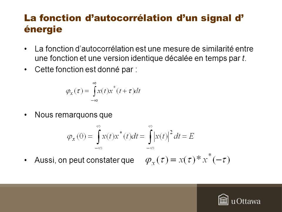 La fonction dautocorrélation dun signal d énergie La fonction dautocorrélation est une mesure de similarité entre une fonction et une version identiqu