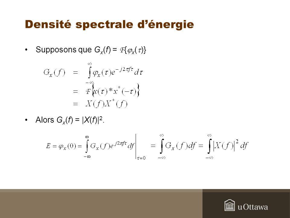Densité spectrale dénergie Supposons que G x (f) = F { x ( )} Alors G x (f) = |X(f)| 2.