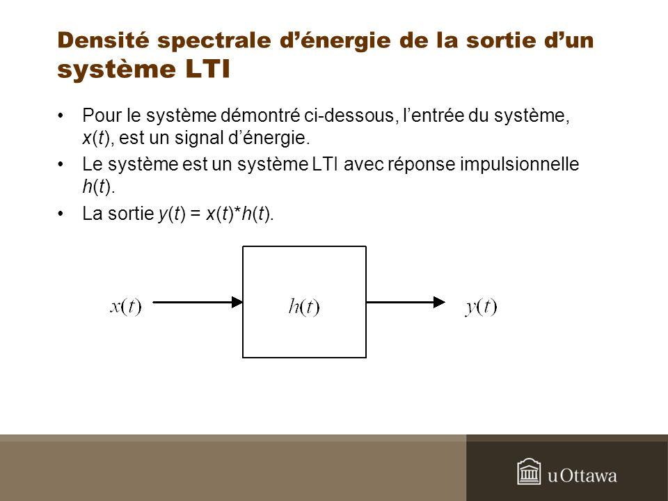 Densité spectrale dénergie de la sortie dun système LTI Pour le système démontré ci-dessous, lentrée du système, x(t), est un signal dénergie. Le syst