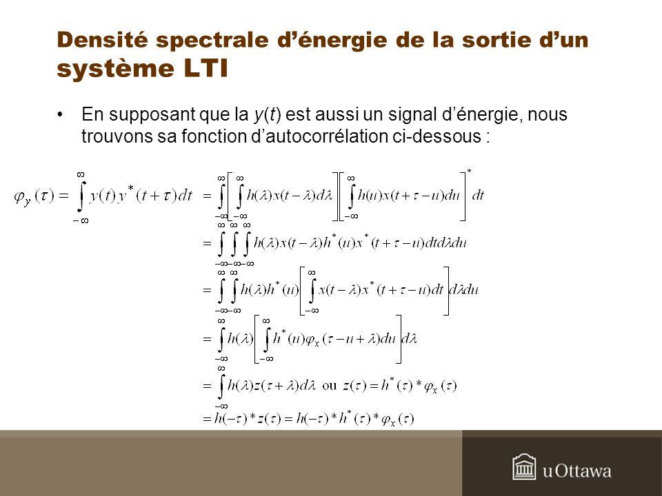 Densité spectrale dénergie de la sortie dun système LTI En supposant que la y(t) est aussi un signal dénergie, nous trouvons sa fonction dautocorrélat