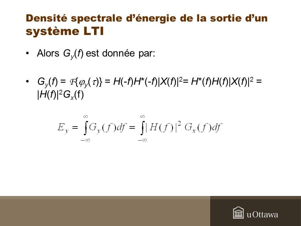 Densité spectrale dénergie de la sortie dun système LTI Alors G y (f) est donnée par: G y (f) = F { y ( )} = H(-f)H*(-f)|X(f)| 2 = H*(f)H(f)|X(f)| 2 =