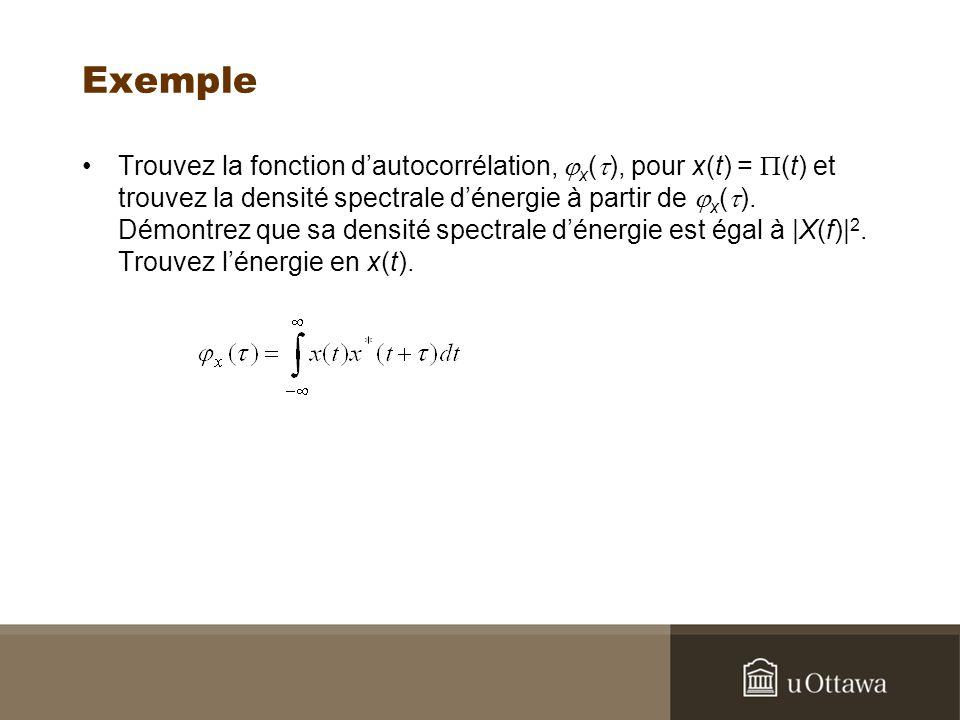 Exemple Trouvez la fonction dautocorrélation, x ( ), pour x(t) = (t) et trouvez la densité spectrale dénergie à partir de x ( ). Démontrez que sa dens