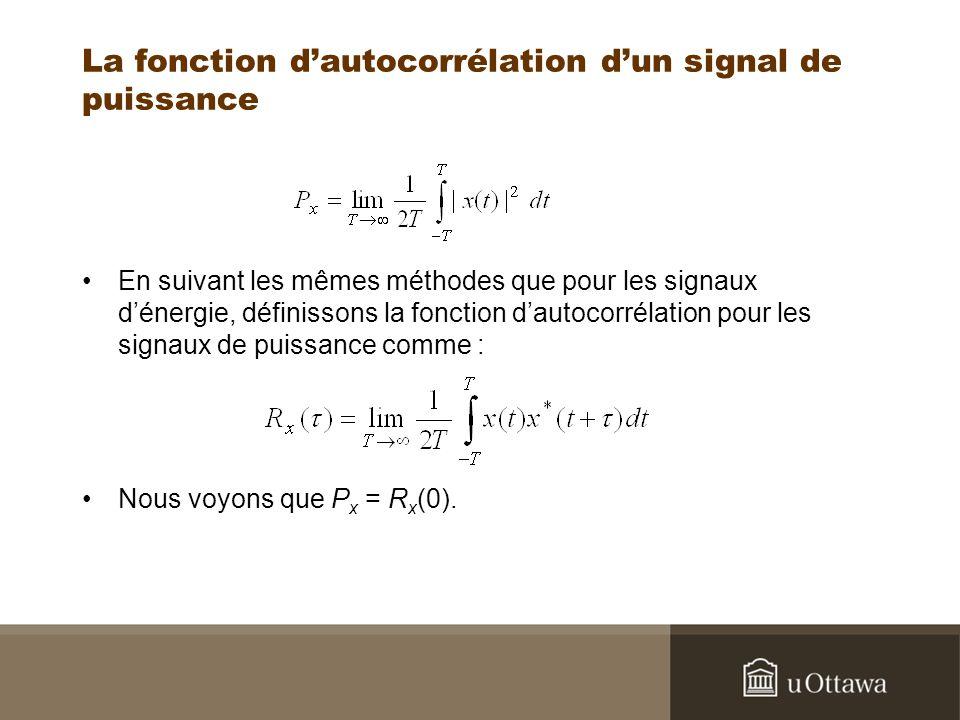 La fonction dautocorrélation dun signal de puissance En suivant les mêmes méthodes que pour les signaux dénergie, définissons la fonction dautocorréla