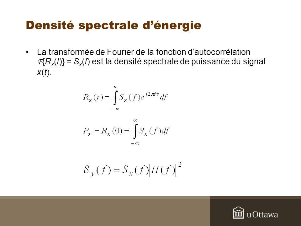 Densité spectrale dénergie La transformée de Fourier de la fonction dautocorrélation F {R x (t)} = S x (f) est la densité spectrale de puissance du si