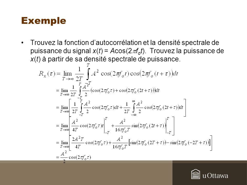 Exemple Trouvez la fonction dautocorrélation et la densité spectrale de puissance du signal x(t) = Acos(2 f o t). Trouvez la puissance de x(t) à parti