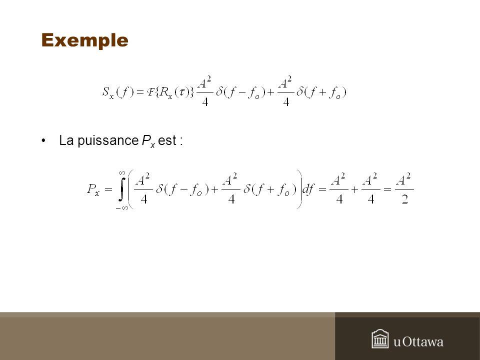 Exemple La puissance P x est :