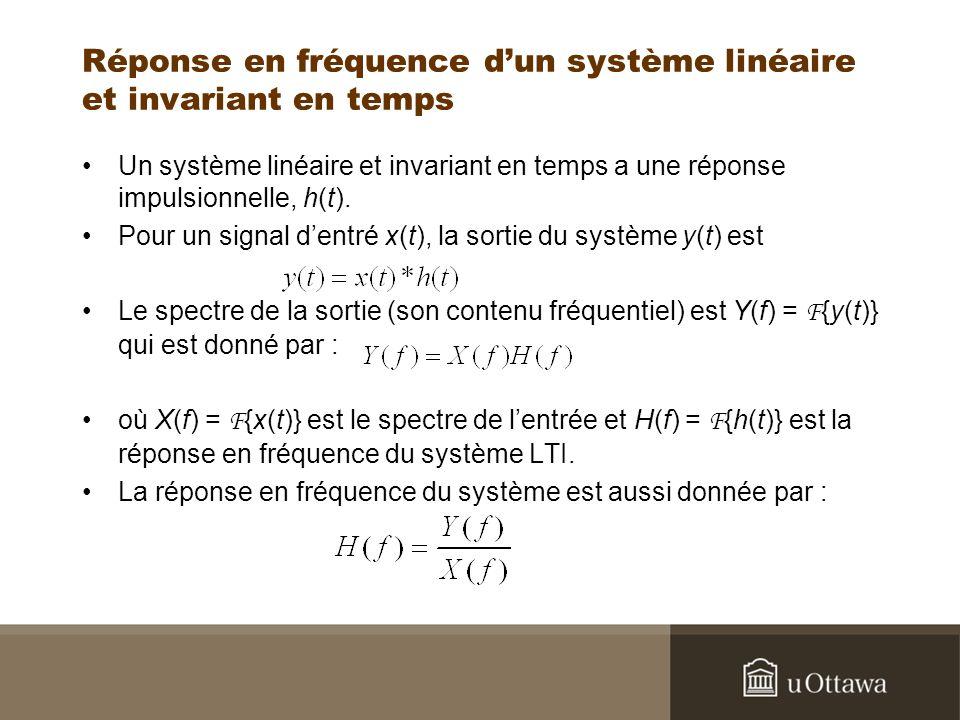 Réponse en fréquence dun système linéaire et invariant en temps Un système linéaire et invariant en temps a une réponse impulsionnelle, h(t). Pour un