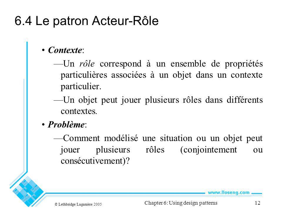 © Lethbridge/Laganière 2005 Chapter 6: Using design patterns12 6.4 Le patron Acteur-Rôle Contexte: Un rôle correspond à un ensemble de propriétés particulières associées à un objet dans un contexte particulier.