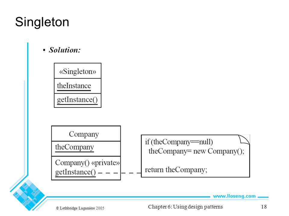 © Lethbridge/Laganière 2005 Chapter 6: Using design patterns18 Singleton Solution: