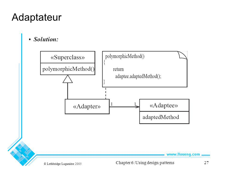 © Lethbridge/Laganière 2005 Chapter 6: Using design patterns27 Adaptateur Solution:
