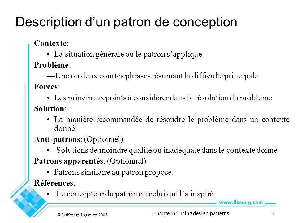 © Lethbridge/Laganière 2005 Chapter 6: Using design patterns34 Linterface en mode lecture seule Example: