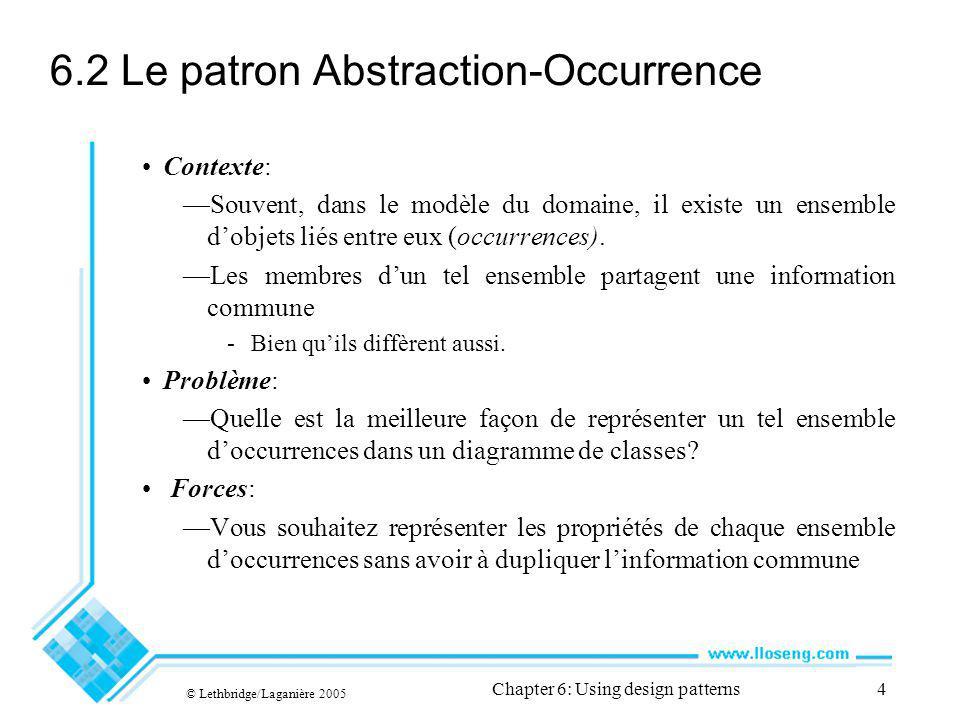 © Lethbridge/Laganière 2005 Chapter 6: Using design patterns4 6.2 Le patron Abstraction-Occurrence Contexte: Souvent, dans le modèle du domaine, il existe un ensemble dobjets liés entre eux (occurrences).