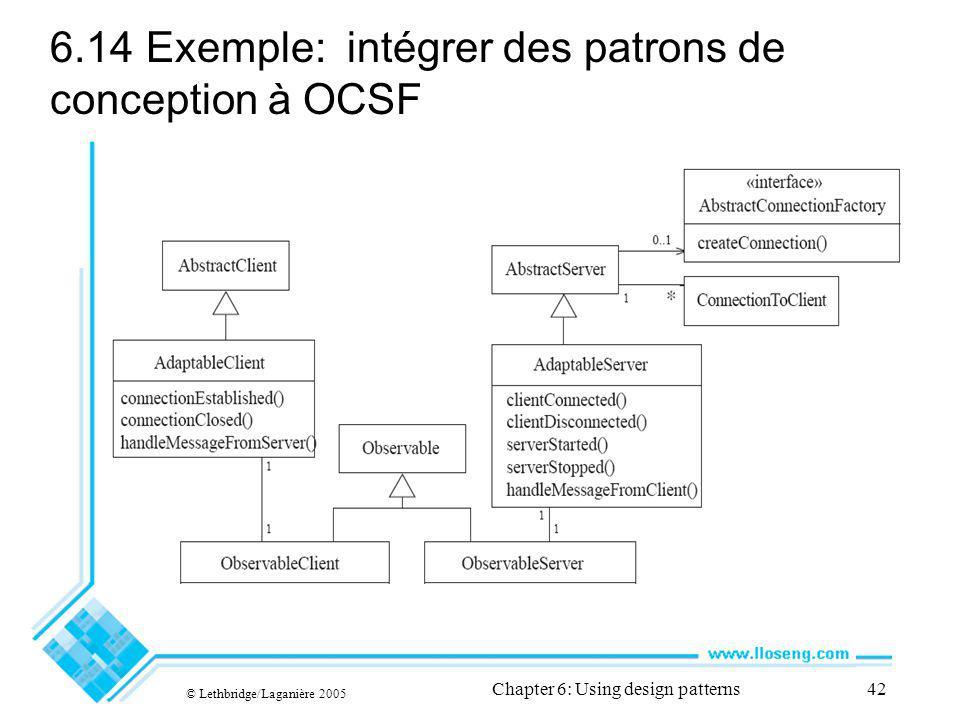© Lethbridge/Laganière 2005 Chapter 6: Using design patterns42 6.14Exemple: intégrer des patrons de conception à OCSF