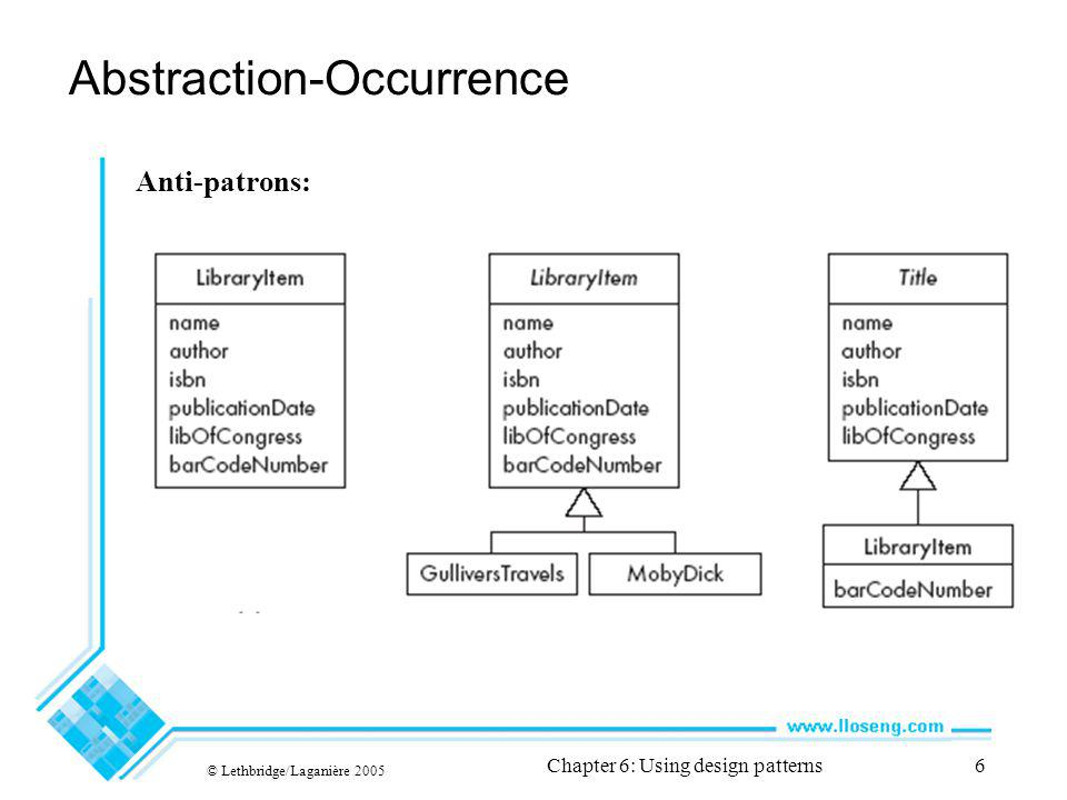 © Lethbridge/Laganière 2005 Chapter 6: Using design patterns7 Abstraction-Occurrence Variante en carré