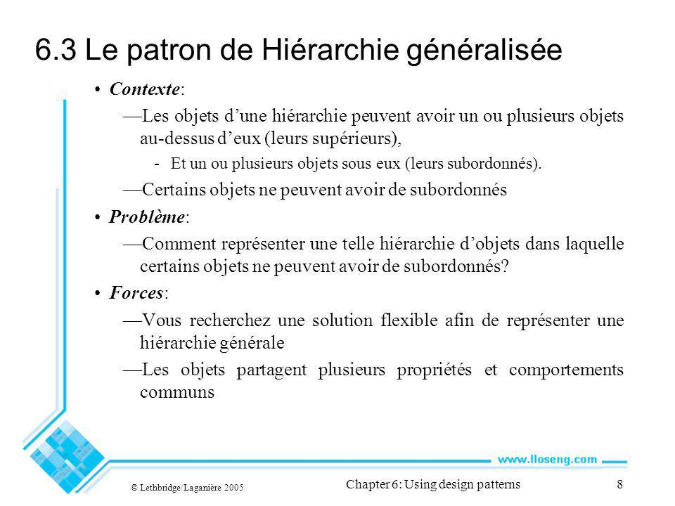 © Lethbridge/Laganière 2005 Chapter 6: Using design patterns39 6.13 Le patron Fabrique Contexte: Un cadriciel réutilisable a besoin de créer des objets; toutefois, les objets à créer dépendent de lapplication.