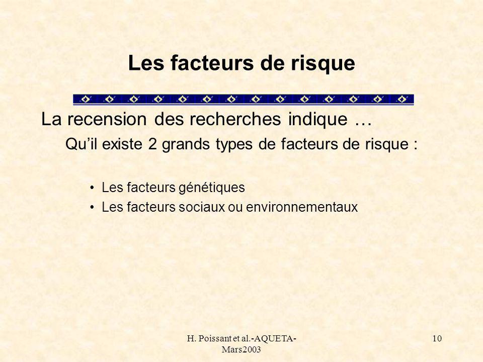 H. Poissant et al.-AQUETA- Mars2003 10 Les facteurs de risque La recension des recherches indique … Quil existe 2 grands types de facteurs de risque :