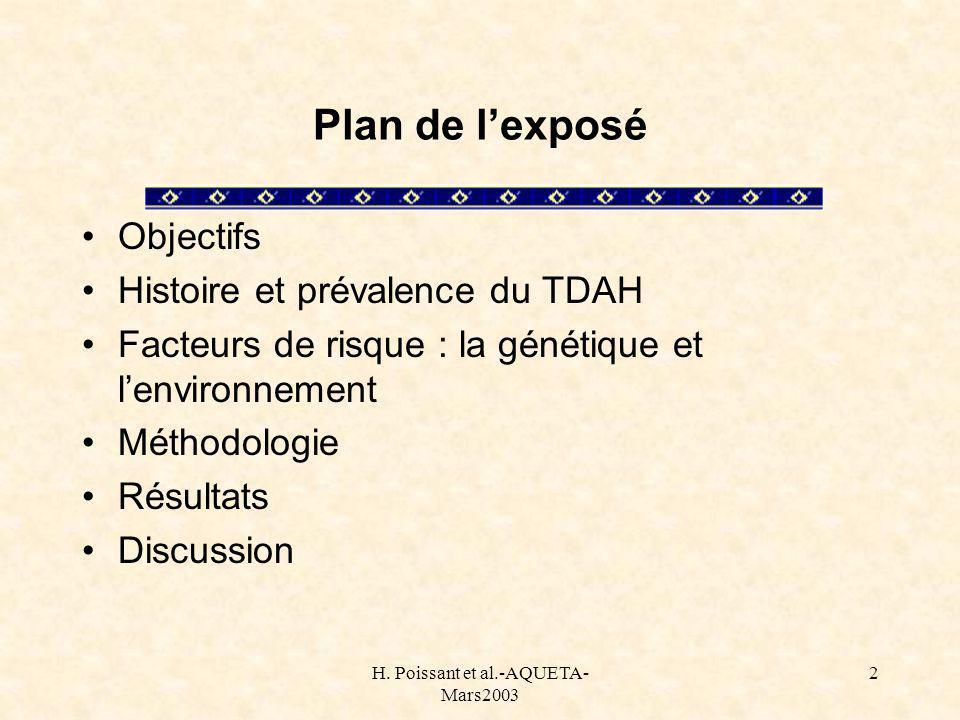 H. Poissant et al.-AQUETA- Mars2003 2 Plan de lexposé Objectifs Histoire et prévalence du TDAH Facteurs de risque : la génétique et lenvironnement Mét