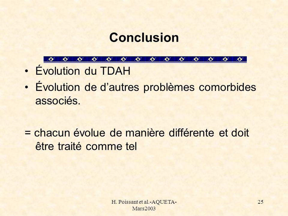 H. Poissant et al.-AQUETA- Mars2003 25 Conclusion Évolution du TDAH Évolution de dautres problèmes comorbides associés. = chacun évolue de manière dif