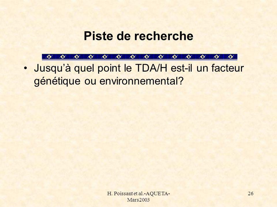 H. Poissant et al.-AQUETA- Mars2003 26 Piste de recherche Jusquà quel point le TDA/H est-il un facteur génétique ou environnemental?