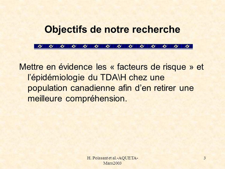 H. Poissant et al.-AQUETA- Mars2003 3 Objectifs de notre recherche Mettre en évidence les « facteurs de risque » et lépidémiologie du TDA\H chez une p