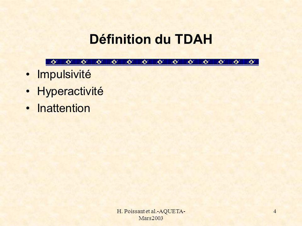 H. Poissant et al.-AQUETA- Mars2003 4 Définition du TDAH Impulsivité Hyperactivité Inattention