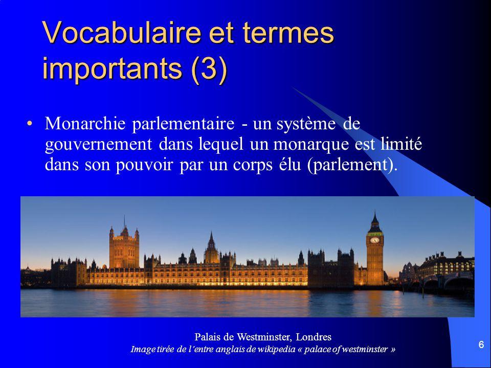 6 Monarchie parlementaire - un système de gouvernement dans lequel un monarque est limité dans son pouvoir par un corps élu (parlement).