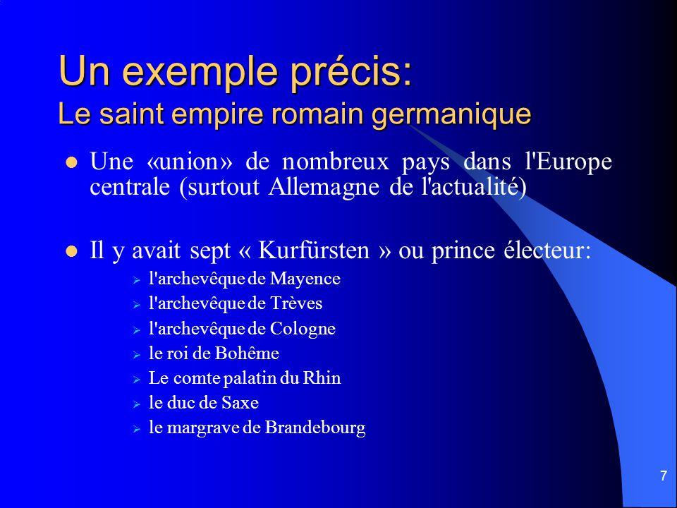7 Un exemple précis: Le saint empire romain germanique Une «union» de nombreux pays dans l Europe centrale (surtout Allemagne de l actualité) Il y avait sept « Kurfürsten » ou prince électeur: l archevêque de Mayence l archevêque de Trèves l archevêque de Cologne le roi de Bohême Le comte palatin du Rhin le duc de Saxe le margrave de Brandebourg