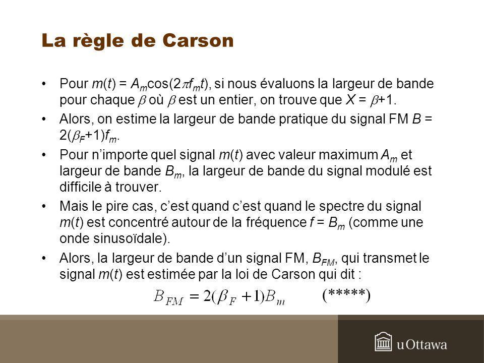 La règle de Carson Pour m(t) = A m cos(2 f m t), si nous évaluons la largeur de bande pour chaque où est un entier, on trouve que X = +1. Alors, on es