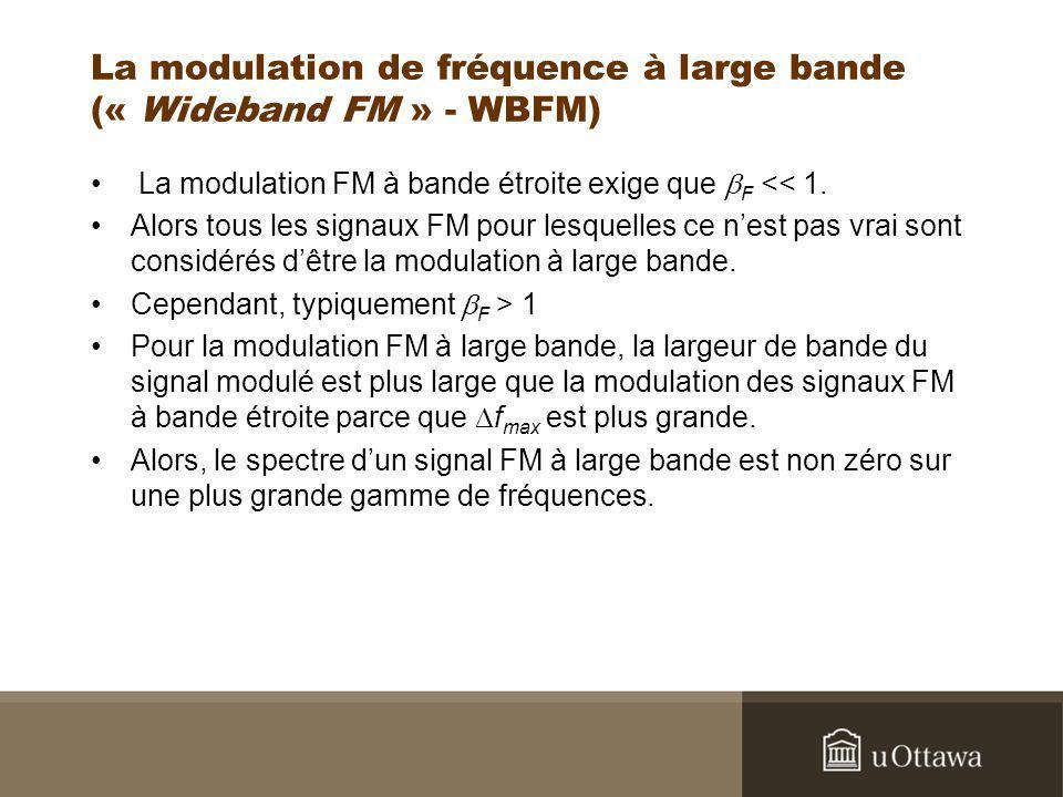 La modulation de fréquence à large bande (« Wideband FM » - WBFM) La modulation FM à bande étroite exige que F << 1. Alors tous les signaux FM pour le