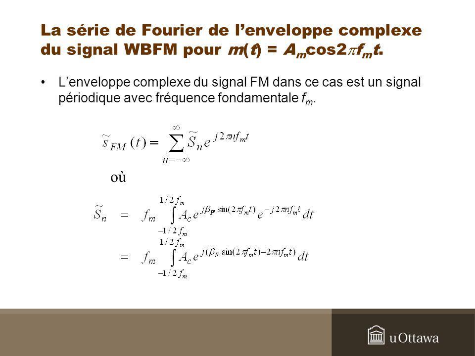 La série de Fourier de lenveloppe complexe du signal WBFM pour m(t) = A m cos2 f m t. Lenveloppe complexe du signal FM dans ce cas est un signal pério