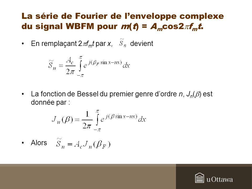 La série de Fourier de lenveloppe complexe du signal WBFM pour m(t) = A m cos2 f m t. En remplaçant 2 f m t par x, devient La fonction de Bessel du pr