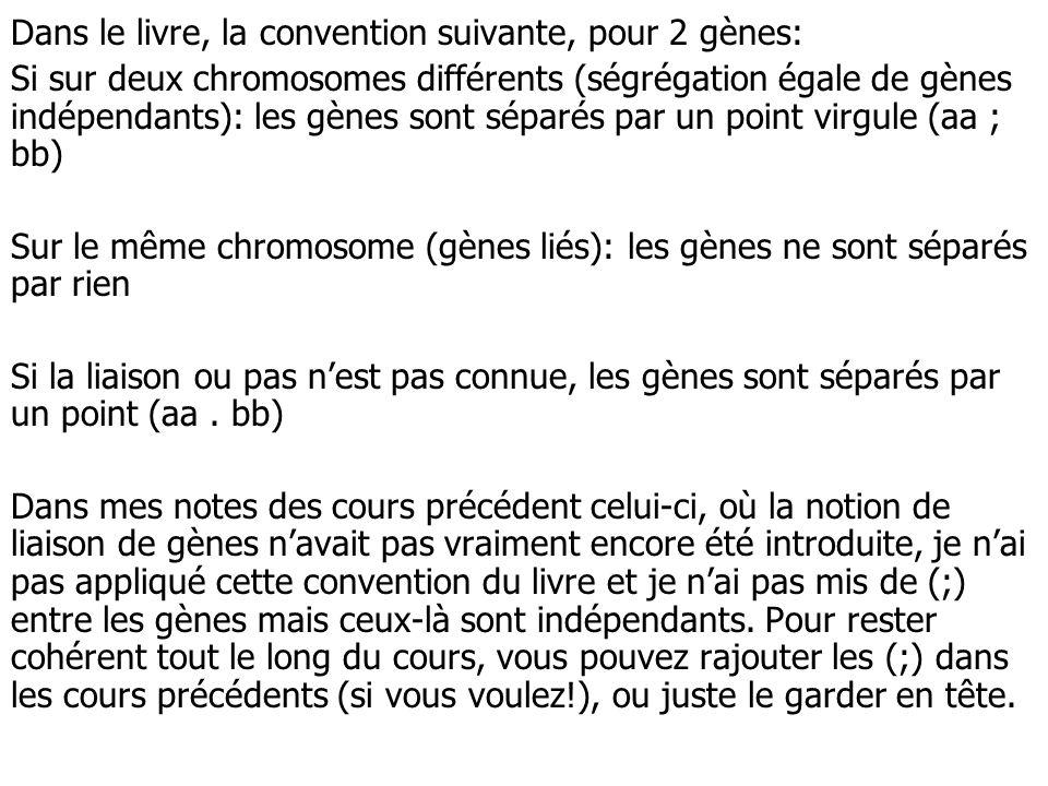 Dans le livre, la convention suivante, pour 2 gènes: Si sur deux chromosomes différents (ségrégation égale de gènes indépendants): les gènes sont sépa