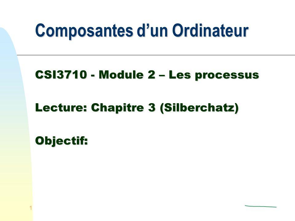 1 Composantes dun Ordinateur CSI3710 - Module 2 – Les processus Lecture: Chapitre 3 (Silberchatz) Objectif:
