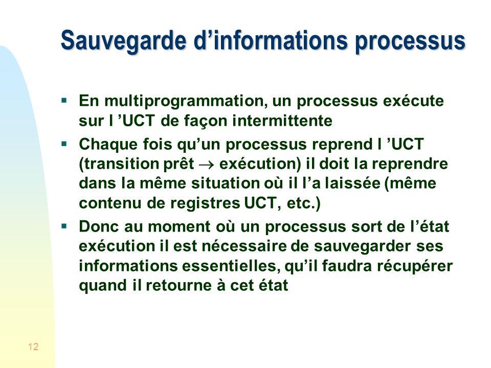 12 Sauvegarde dinformations processus En multiprogrammation, un processus exécute sur l UCT de façon intermittente Chaque fois quun processus reprend