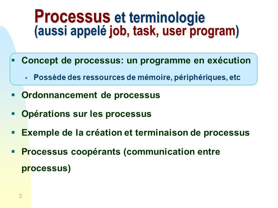 3 Processus et terminologie (aussi appelé job, task, user program) Concept de processus: un programme en exécution Possède des ressources de mémoire, périphériques, etc Ordonnancement de processus Opérations sur les processus Exemple de la création et terminaison de processus Processus coopérants (communication entre processus)