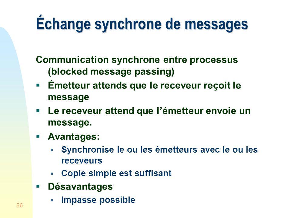 56 Échange synchrone de messages Communication synchrone entre processus (blocked message passing) Émetteur attends que le receveur reçoit le message Le receveur attend que lémetteur envoie un message.