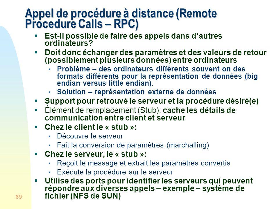 69 Appel de procédure à distance (Remote Procedure Calls – RPC) Est-il possible de faire des appels dans dautres ordinateurs? Doit donc échanger des p