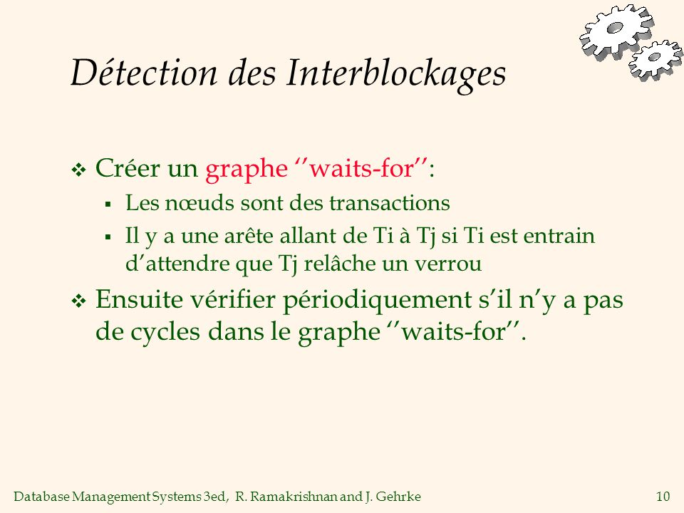 Database Management Systems 3ed, R. Ramakrishnan and J. Gehrke10 Détection des Interblockages Créer un graphe waits-for: Les nœuds sont des transactio