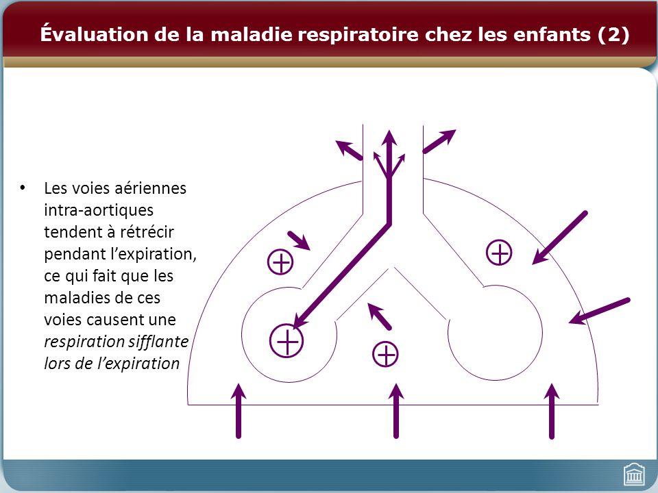 Évaluation de la maladie respiratoire chez les enfants (2) Les voies aériennes intra-aortiques tendent à rétrécir pendant lexpiration, ce qui fait que les maladies de ces voies causent une respiration sifflante lors de lexpiration
