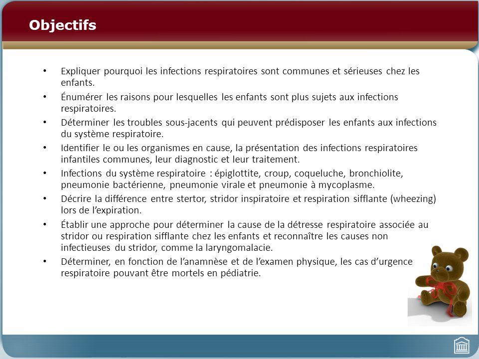 Objectifs Expliquer pourquoi les infections respiratoires sont communes et sérieuses chez les enfants.