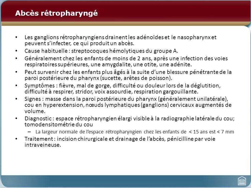 Abcès rétropharyngé Les ganglions rétropharyngiens drainent les adénoïdes et le nasopharynx et peuvent sinfecter, ce qui produit un abcès.