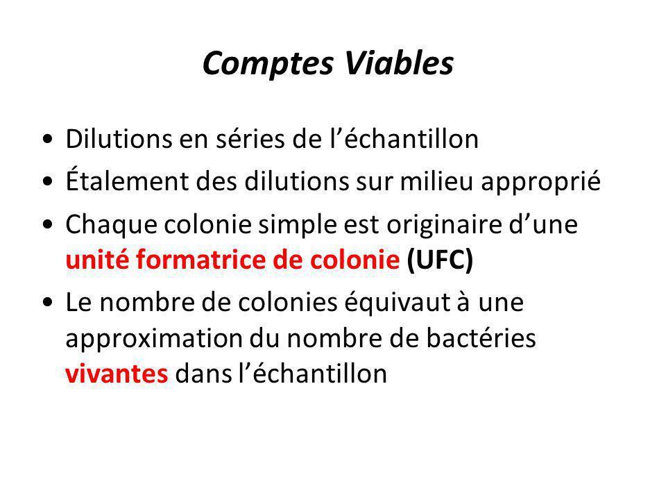 Comptes Viables Dilutions en séries de léchantillon Étalement des dilutions sur milieu approprié Chaque colonie simple est originaire dune unité forma