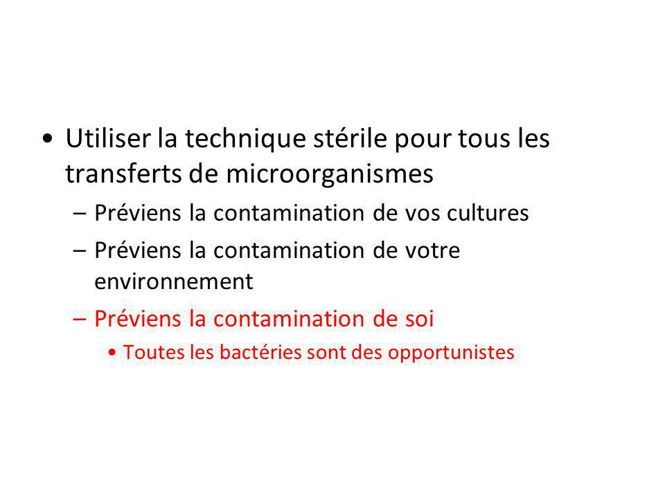 Utiliser la technique stérile pour tous les transferts de microorganismes –Préviens la contamination de vos cultures –Préviens la contamination de vot