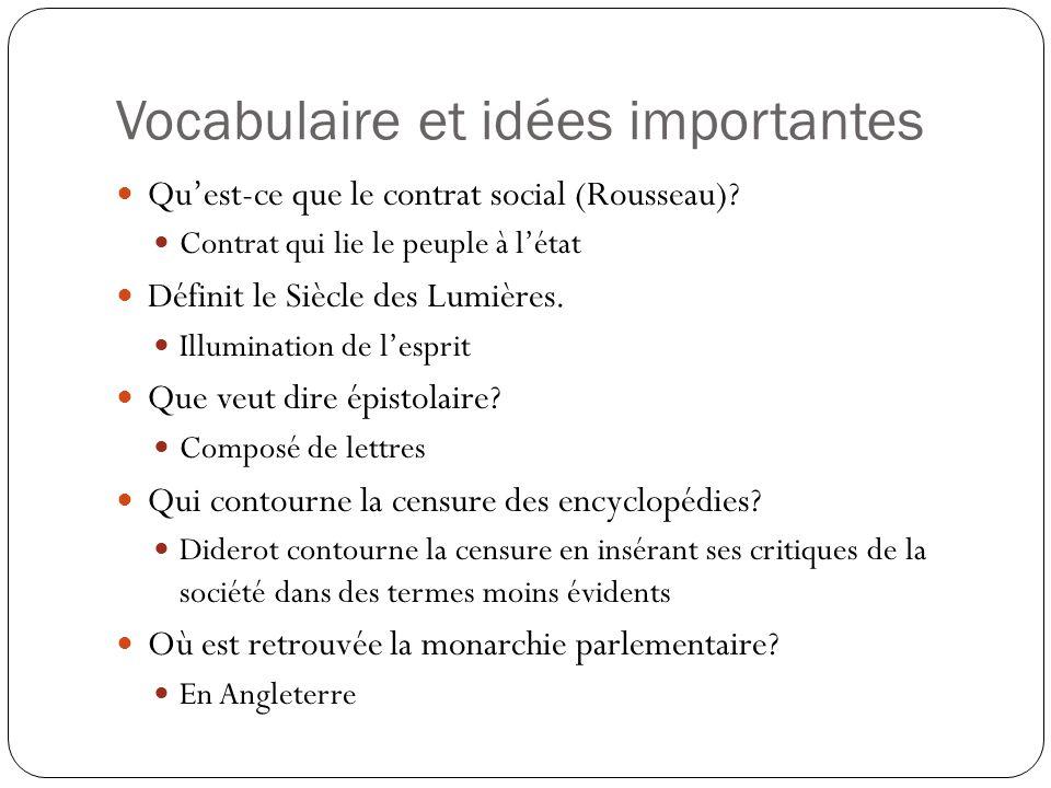 Vocabulaire et idées importantes Quest-ce que le contrat social (Rousseau)? Contrat qui lie le peuple à létat Définit le Siècle des Lumières. Illumina