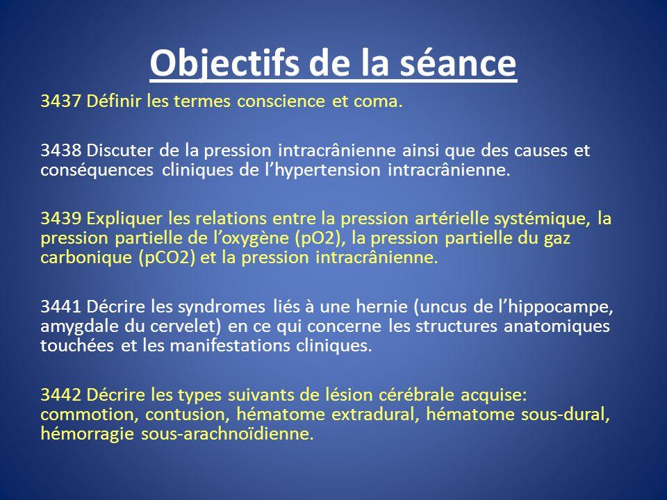Objectifs de la séance 3437 Définir les termes conscience et coma.