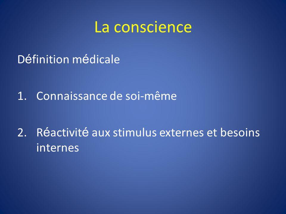 La conscience D é finition m é dicale 1.Connaissance de soi-même 2.R é activit é aux stimulus externes et besoins internes